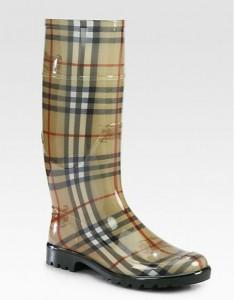 Lisson Check Rubber Rain Boots $225.00