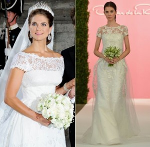 Princess Madeleine (left) looks to have inspired Oscar de la Renta's dress (right)