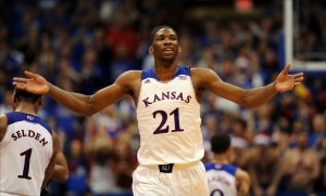 Joel Embiid, center, Kansas