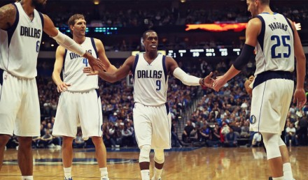 From R t L: Chandler, Nowitzki, Rondo, Parsons